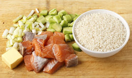 Chopped salmon cucumber rice and spring onions Stock Photo