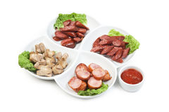 Chopped sausages Royalty Free Stock Images