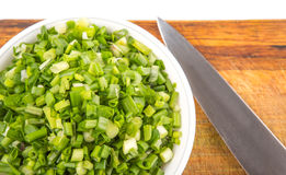 Chopped Scallions With Knife III Stock Images