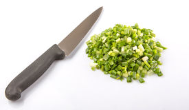 Chopped Scallions With Knife V Stock Image