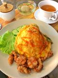 Chopped shrimp thai style omelet with deep fried pork and rice Royalty Free Stock Photography
