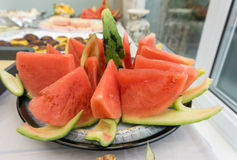Chopped sliced water melon. Royalty Free Stock Images
