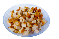 Chopped smoked chicken meat in the plate isolated Stock Image