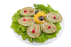 Chopped spinach roulade with cottage cheese Royalty Free Stock Image