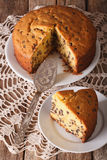 Chopped sponge cake with chocolate Drops close-up. vertical Stock Images