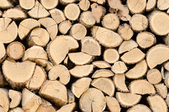 Chopped and stacked firewood for home fireplace Stock Photo