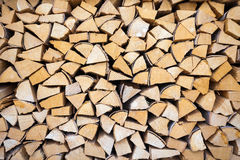 Chopped and stacked pile of wood Royalty Free Stock Photo