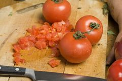 Chopped tomatoes Royalty Free Stock Photo