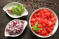 Chopped  tomatoes. Stock Images