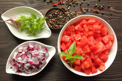 Chopped  tomatoes. Royalty Free Stock Photos