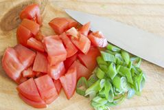 Chopped tomatoes and onions Stock Image