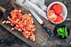 Chopped tomatoes Stock Images