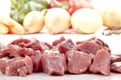 Chopped turkey meat to make stew Royalty Free Stock Images