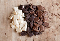 Chopped up high quality handmade chocolate Royalty Free Stock Photos