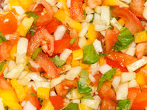 Chopped vegetable salad ingredients close up Royalty Free Stock Image
