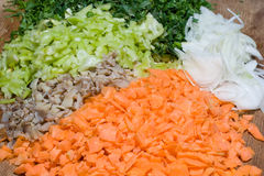 Chopped vegetables. Ready to be cooked Stock Photography