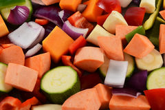 Chopped vegetables background Royalty Free Stock Photos