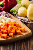 Chopped vegetables: carrots, parsley and onion Stock Photography