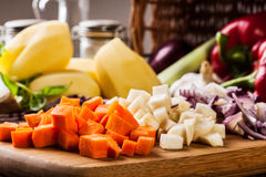 Chopped vegetables: carrots, parsley and onion Royalty Free Stock Images