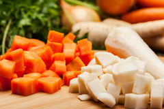 Chopped vegetables on a cutting board Stock Images