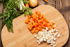 Chopped vegetables on a cutting board Royalty Free Stock Photo