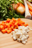 Chopped vegetables on a cutting board Stock Photo