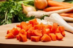 Chopped vegetables on a cutting board Stock Image