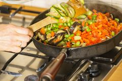 Chopped vegetables on frying pan Royalty Free Stock Photography