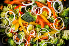 Chopped vegetables in a frying pan Stock Photo