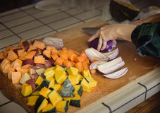 Chopped vegetables in the kitchen royalty free stock photos
