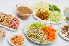 Chopped vegetables and meats Royalty Free Stock Photos