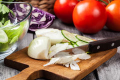 Chopped vegetables: onion and cucumber on cutting board Stock Photography