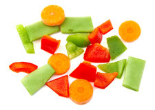 Chopped vegetables. Red, green pepper, carrot and Stock Photos
