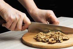 Chopped walnuts Stock Photo