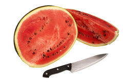 Chopped watermelon. Watermelon chopped by knife - isolated Royalty Free Stock Photo