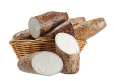 Chopped and whole cassava Royalty Free Stock Image