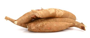Chopped and whole cassava. One cut cassava on a white background Stock Images