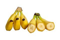 Chopped and whole ripe banana isolated Stock Images