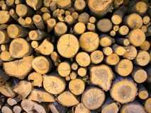 Chopped wood. A pattern/texture of a stack pile of chopped wood: useful for backgrounds and as texture for compositing Royalty Free Stock Image