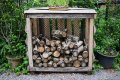 Chopped wood background. Wood industry. Stock Photo