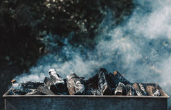 Chopped wood burns and smokes in the grill. Royalty Free Stock Photos
