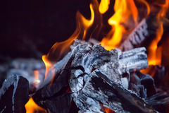 Chopped wood burns and smokes in the grill. Preparing for meat roasting on the fire. Barbecue in nature Stock Image
