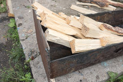 Chopped wood in mangal. Ready for fire Royalty Free Stock Image