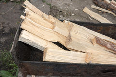 Chopped wood in mangal Royalty Free Stock Photography