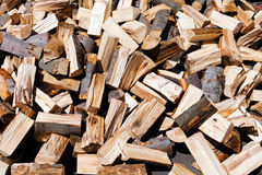 Chopped wood. Pile of chopped fire wood prepared for winter Royalty Free Stock Photo