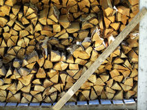 Chopped Wood. Stacked for drying in the sunlight Stock Photos