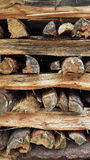 Chopped wood. Stacked chopped logs Royalty Free Stock Photography