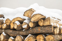 Chopped wood stock under snow Stock Photography