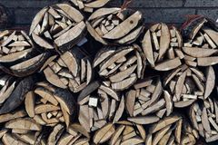 Chopped wood tied into bundles. Bundles of chopped wood stacked along a wall at a gas station Royalty Free Stock Image