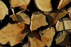 Chopped wood in a woodpile Stock Photography